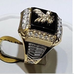 NEW Eagle Two Tone 925 Silver Ring for Men's